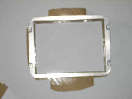 Cardboard template created from the metal housing