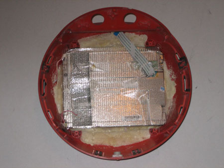 LCD screen glued into place, inside of Videosphere