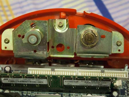 The view from inside, Via Epia M motherboard visible