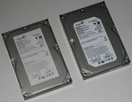 Counterfeit refurbished drive next to a genuine Seagate drive