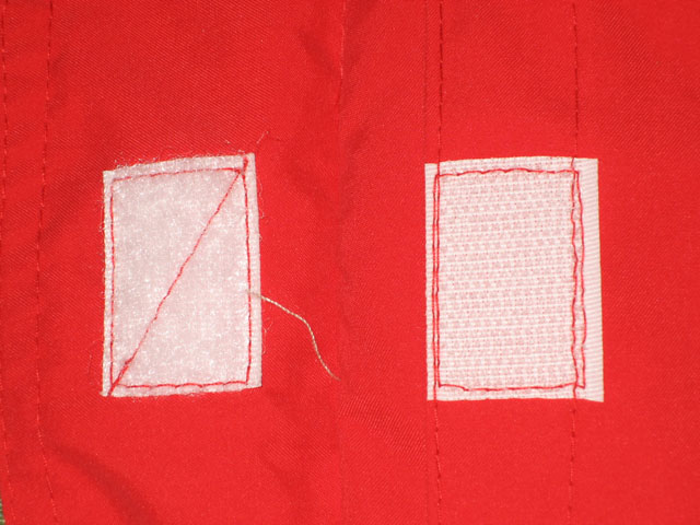 inconstancies 1: Velcro stitching.
