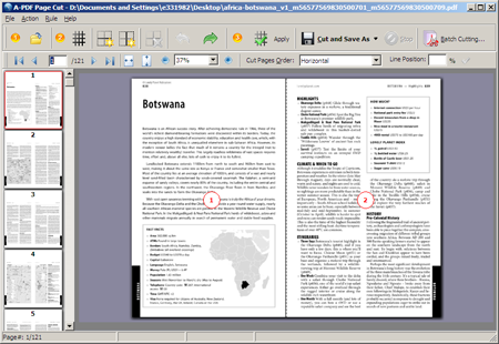 Cutting a single pdf pages in half