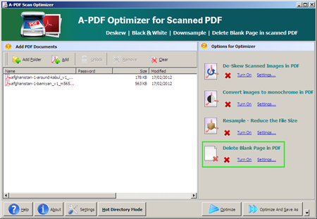 A-PDF Scan Optimizer startup interface
