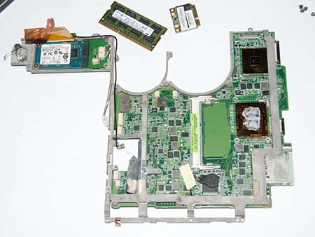 The removed motherboard metal frame