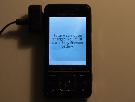 Battery cannot be charged. You must use a Sony Ericsson battery.