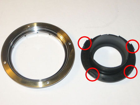 Inner black ring and outer metal ring, clips visible