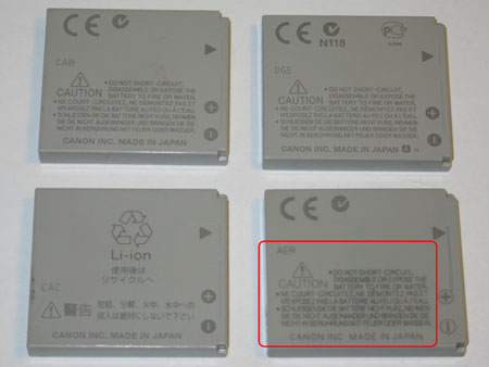 Back photo of the four batteries, the lower right battery is again the fake