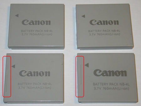 Front photo of the four batteries, the lower right battery is the fake