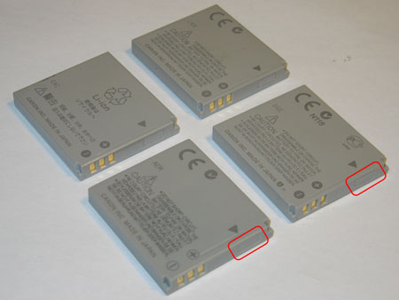 Isometric view of the four batteries, the lower battery is the fake