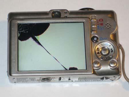 Canon IXUS 55 / IXY 60 / SD450 with cracked LCD screen