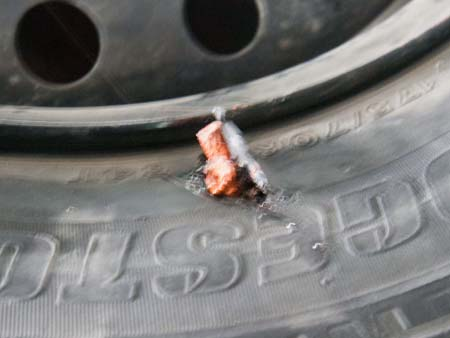 Insert the strip into the puncture