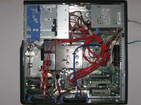Dell SC430 cable management of 9 drives