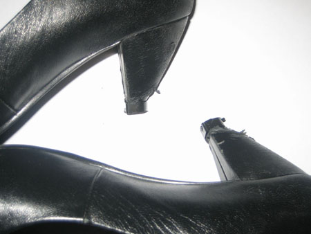 Completely repaired high heel shoes