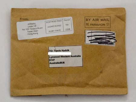 A typical envelope from Hong Kong