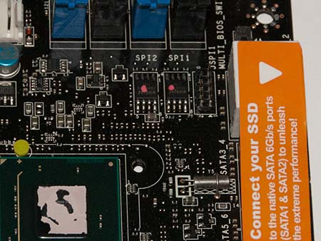 Remove the southerbridge heatsink to expose both the BIOS chips