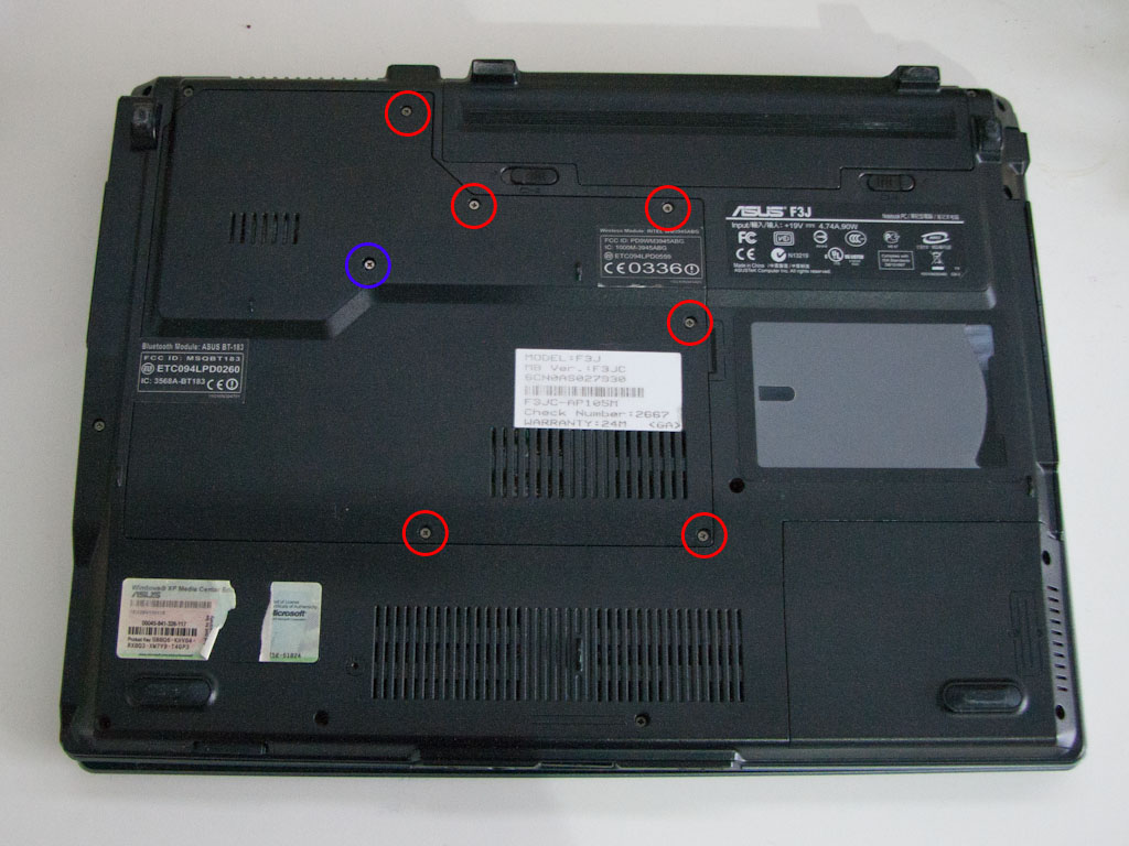 The back of the ASUS F3J laptop