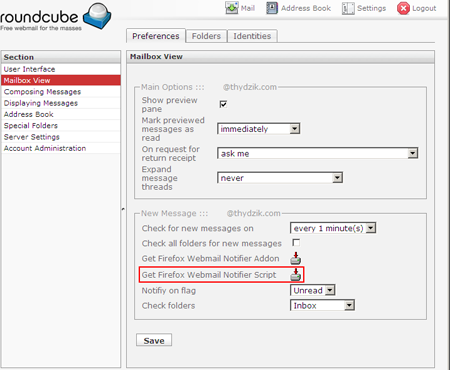 Roundcube Webmail Notifier Configuration