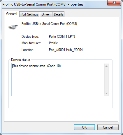 Prolific USB-to-Serial Comm Port (counterfeit) Code 10