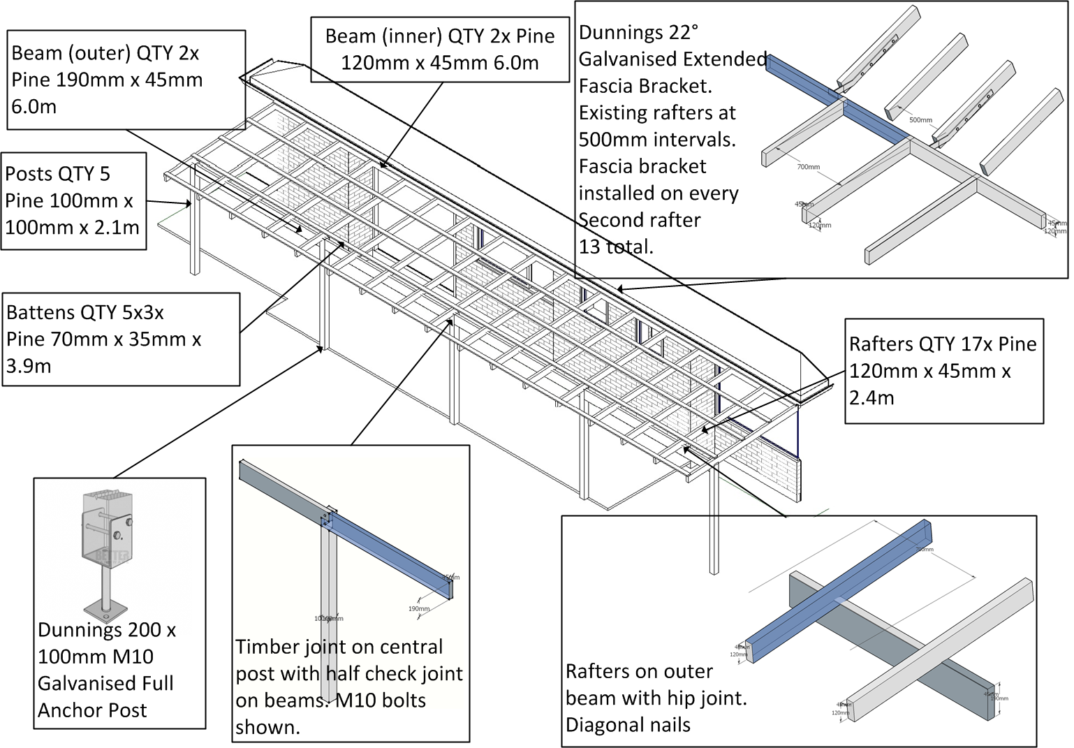 Simple Timber Patio Design For Side Of House Pergola