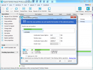 Review of EaseUS Partition Master Professional v10.8 Resizing
